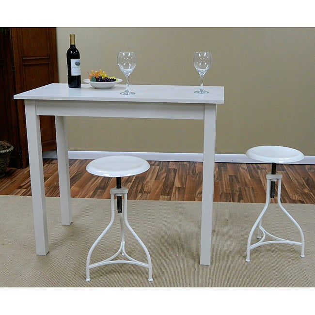 Antique White Pavina Pub Bar Table Dining Room Furniture