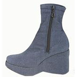 Italina Women's Denim Platform Wegde Ankle Booties