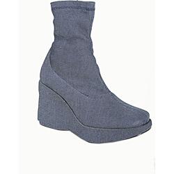 Italina Women's Denim Platform Wegde Ankle Booties