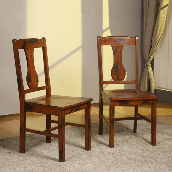 Dark Oak Wood Dining Chairs Set Of 2 Overstock