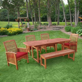 6-Piece Brown Wood Patio Dining Set