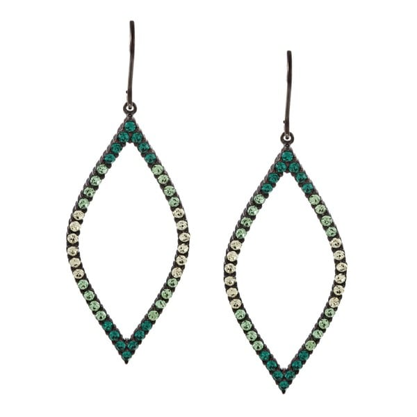 La Preciosa Sterling Silver Green Crystal Open Marquise Shape Earrings