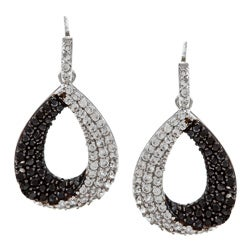 La Preciosa Sterling Silver Black and White CZ Teardrop Earrings