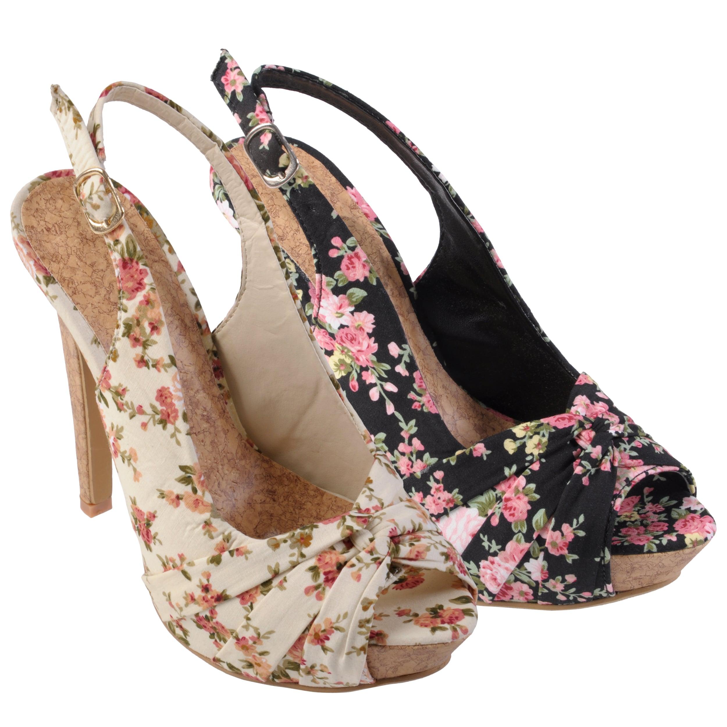 Journee Collection Women's 'Blythe-2' Floral Peep Toe Slingback Pumps
