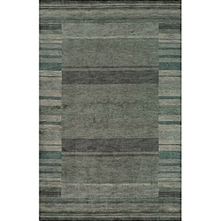 "Loft Blue Gabbeh Border Hand-Loomed Wool Rug (9'6"" x 13'6"")"