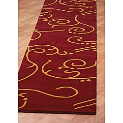 Hand Tufted Archer Burgundy Wool Rug (2.5 x 12')