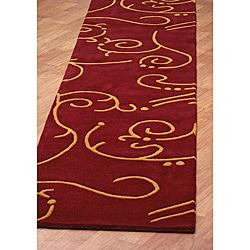 Hand Tufted Archer Burgundy Wool Rug (2.5 x 12')