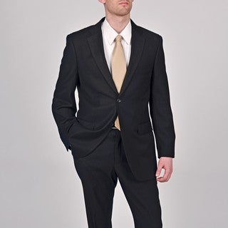Caravelli Men's Black Pinstripe 2-button Suit