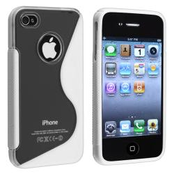 Clear/ Frost White S Shape TPU Rubber Skin Case for Apple iPhone 4/ 4S