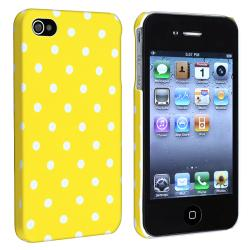 Yellow with White Dot Snap-on Rubber Skin Case for Apple iPhone 4/ 4S