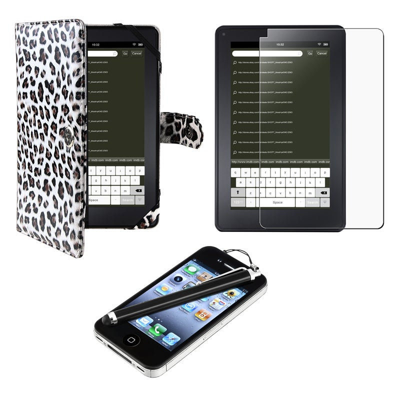 Leopard Leather Case/ Screen Protector/ Stylus for Amazon Kindle Fire