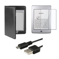 Leather Case/ Screen Protector/ USB Cable for Amazon Kindle Touch