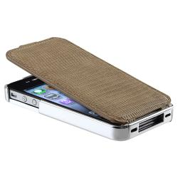 Brown Leather Case/ Screen Protector/MFI USB Cable for Apple iPhone 4S