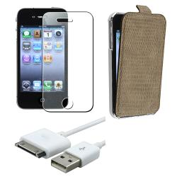 Brown Leather Case/ Screen Protector/ USB Cable for Apple iPhone 4S
