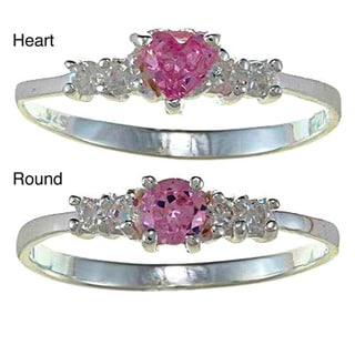 Sterling Silver Pink and Clear Cubic Zirconia Heart Baby Ring