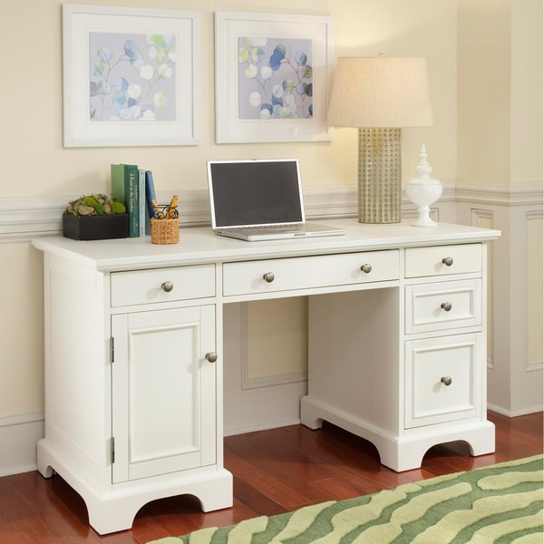 Home Styles Naples White Finish Pedestal Desk 14124395