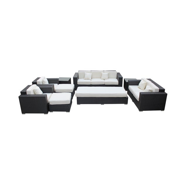 Luxurious Outdoor Patio Wicker Sectional Set in Espresso with White Cushions