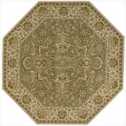 Nourison Parthia Olive Floral Wool Rug (5'6 x 5'6)