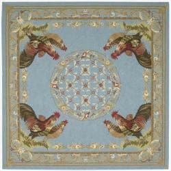 Nourison Hand-hooked Bijoux Blue Wool Rug (8' Square)