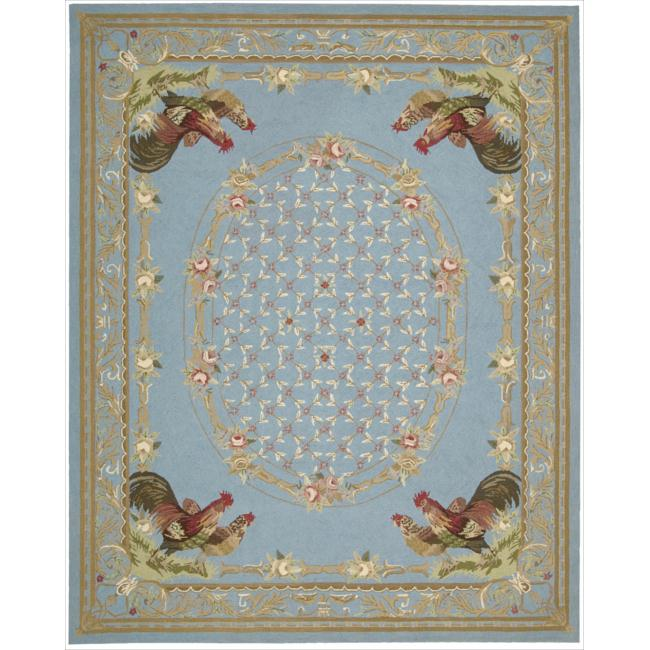 Nourison Hand-hooked Bijoux Blue Wool Rug (8'6 x 11'6)
