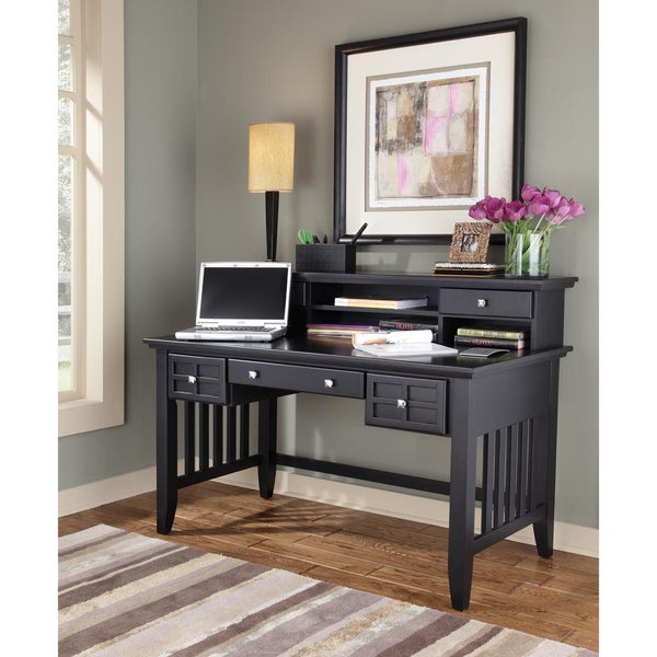 Home Styles Arts and Crafts Black Executive Desk/ Hutch