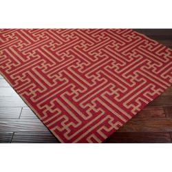 Hand-woven Red Alba Wool Rug (5' x 8')