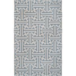 Hand-woven Blue Xora Wool Rug (8' x 11')