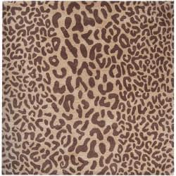 Hand-tufted Tan Leopard Basenji Animal Print Wool Rug (4' Square)