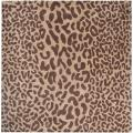 Hand-tufted Tan Leopard Basenji Animal Print Wool Rug (4' Square)