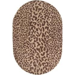 Hand-tufted Brown Leopard Basenji Animal Print Wool Rug (6' x 9' Oval)