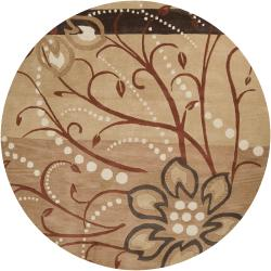 Hand-tufted Beige Belgian Floral Wool Rug (6' Round)