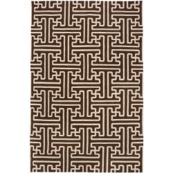 Hand-woven Brown Acadia Wool Rug (8' x 11')