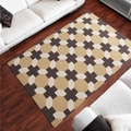 Hand-woven Tan/Brown Geometric Arctos Flatweave Wool Area Rug (5' x 8')