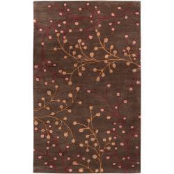 Hand-tufted Brown Briard Wool Rug (9' x 12')