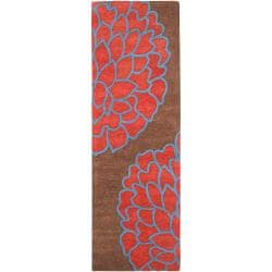 Hand-tufted Contemporary Brown/Red Floral Bosie New Zealand Wool Abstract Rug (2'6 x 8')