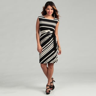 Connected Apparel Women's Camel Striped Dress