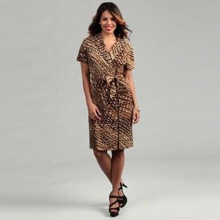 Connected Apparel Women's Brown Zip-front Dress
