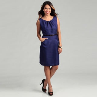 Connected Apparel Women's Violet Pleated Dress