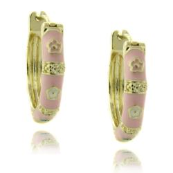 Molly and Emma 14k Gold Overlay Pink Enamel Flower Design Children's Hoop Earrings