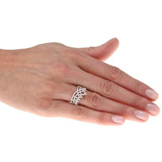 Sterling Silver 1/6ct TDW Diamond Crown Ring (J-K, I2-I3)