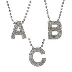 Victoria Kay Sterling Silver 1/10ct TDW White Diamond Initial Necklace (J-K, I2-I3)