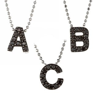 Sterling Silver 1/10ct TDW Black Diamond Initial Necklace