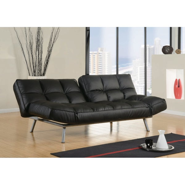 Abbyson Living Milano Black Convertible Euro Sofa Lounger