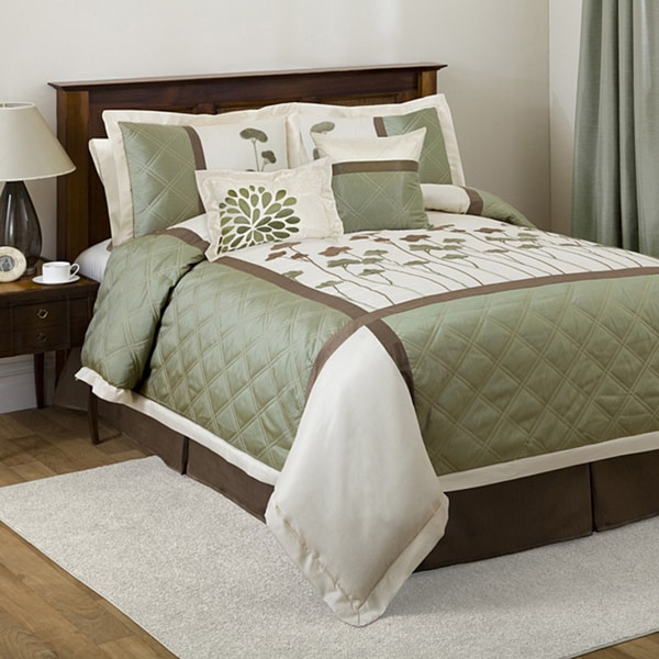 lush decor dawn ivory green 6 piece california king size comforter set