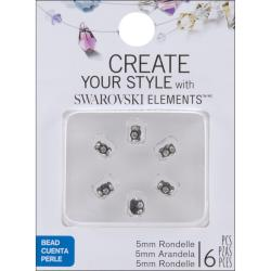 Jolee's Jewels Elements Black Rondelle Beads with Crystals (Pack of 6)