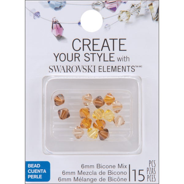 Jolee's Jewels 6mm Topaz Mix Bicone Beads (Pack of 15)