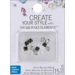Jolee's Jewels 6mm Salt and Pepper Mix Bicone Beads (Pack of 15)