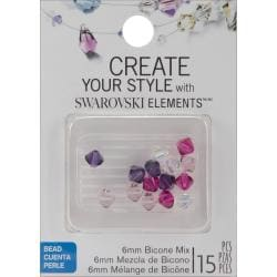 Jolee's Jewels 6mm Fuschia Mix Bicone Beads (Pack of 15)