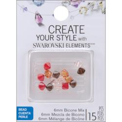 Jolee's Jewels 6mm Earth Mix Bicone Beads (Pack of 15)