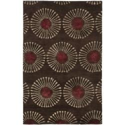 Handmade Soho Zen Coffee/ Brown New Zealand Wool Rug (6' x 9')
